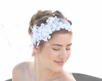White Lace and Flowers Net Tie Headband Wedding Veil Bohemian Hair Accessory, Boho Weddings, Wedding Veil, Lace Headpiece
