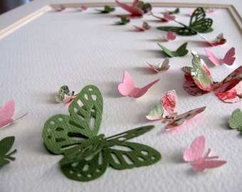 Shabby Roses & Vintage Lace 3D Butterfly Art. Rose Pink. Moss Green. Home Decor. Nursery Decor. Wall Art. 8x10 inches