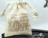 Wedding Favor Bags - All Because - Set of 100 - Muslin Bags