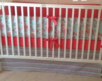 Crib Bedding Set Coral Aqua and Gray