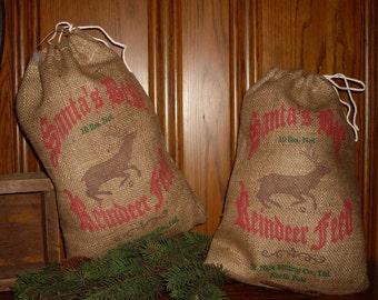 Santa Sack, 10 x 15, Feed sack ,gift sack, saint Nick,  reindeer, feed bag, Burlap christmas bag, gift bag, Santa decor,  Reindeer Feed,