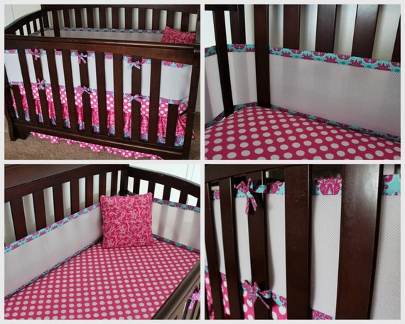 Breathable Mesh Crib Bumper. Custom Colors and Fabrics. Baby Bedding. Boy Girl Gender Neutral.