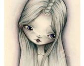 5x7 Art Print - 'The Last' - Cute Little Unicorn Girl Art Print - Giclee Art Print by Jessica Grundy