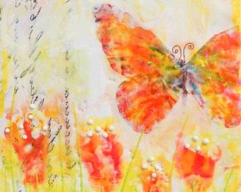 BUTTERFLY Print Encaustic Painting Art Nursery Decor Girl's Room Art