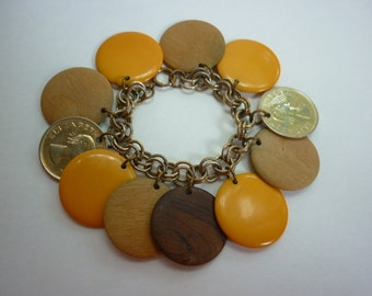 50s Dangling Disc Charm Bracelet w Bakelite / Wood / Coins CHUNKY Mid Century