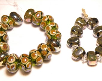 DESTASH -- 25 Green and Brown Iridescent Lampwork Rondelle and Chunky Beads