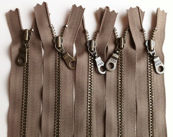 YKK Metal Teeth Zippers -Antique Brass Donut Pull- Taupe 300- Available in 7,9,11, and 14 Inch - 5 Pieces