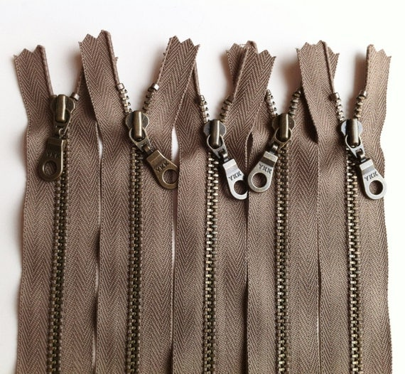YKK Metal Teeth Zippers- 11 inch Taupe Antique Brass Donut Pull- 5 Pieces