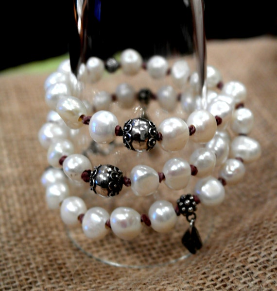 Large White double strand Pearls sterling silver long Necklace wrap Bracelet