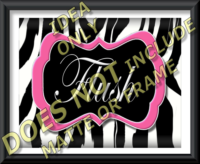 Pink Zebra Wall Decor : Pink zebra print wall art bathroom decor by