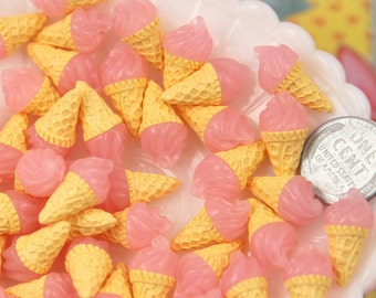 Resin Cabochons - 10mm Little Pink Realistic Ice Cream Cone Resin Cabochons - 8 pc set