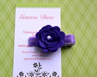 MINI Felt Rosette Hairclip in Purple