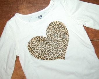 Valentine Shirt for Girls / Leopard Print Heart Shirt / Girls Birthday Shirt / READY TO SHIP / Organic Tee