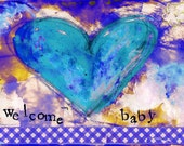 """Welcome Baby Boy 5""""x7"""" Blank Greeting Card, Baby Notecard, New Baby Card, Baby Stationery, Wholesale Baby Cards"""