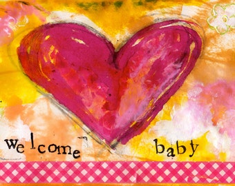 """Welcome Baby Girl 5""""x7"""" Blank Greeting Card, Baby Notecard, New Baby Card, Baby Stationery, Wholesale Cards"""
