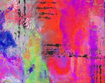 """Mixed Media Abstract in Pink 5""""x7"""" Blank Greeting Card with Envelope, Mixed Media Art, Stationery, All Occasion Card, Wholesale Cards"""