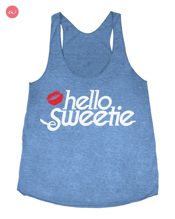 Hello Sweetie - Tri-blend Racerback Ladies Tank Top - Athletic Blue Size Medium