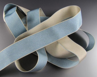 """Oyster Gray and French BlueDouble Faced Grosgrain Ribbon  1 1/4"""" or 5/8"""" Wide 2 Yard Length"""