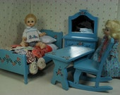 "Vintage 4 Piece Wooden Bedroom Set for 8"" Dolls - Play Scale Size"