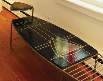 Modern mosaic and welded steel coffee table