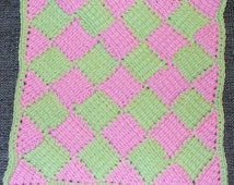 Entrelac Burp Cloth in Pink and Green Acrylic/Cotton yarn - ready to ship - crocheted