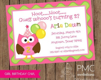 Owl Birthday Invitations - 1.00 each with envelope