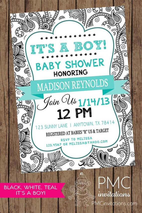 Black and White Floral It\'s a Boy Baby Shower Invitation - 1.00 each ...
