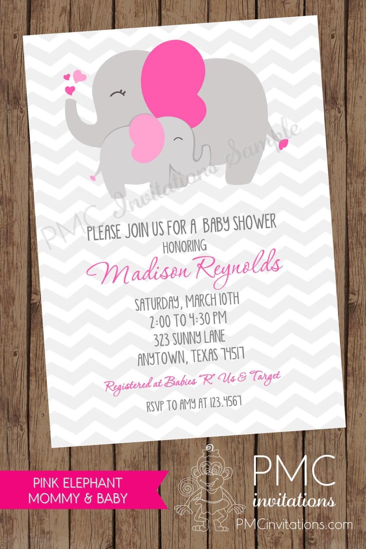 Grey Chevron Elephant Baby Shower Invitations 1.00 Each With
