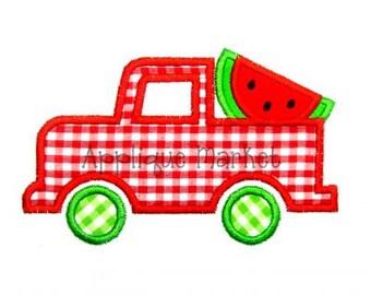 Machine Embroidery Design Applique Truck Watermelon Slice INSTANT DOWNLOAD