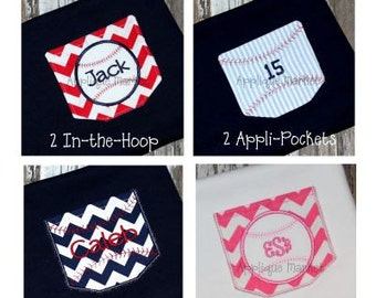 Machine Embroidery Design Applique Baseball Pocket Set INSTANT DOWNLOAD