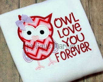 Machine Embroidery Design Applique Owl Love You Forever INSTANT DOWNLOAD