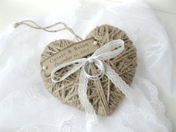 Wedding Ring Pillow/Holder - reuse as Christmas ornament  - personalized with lace or string - wedding ceremony - ring bearer -  ORIGINAL