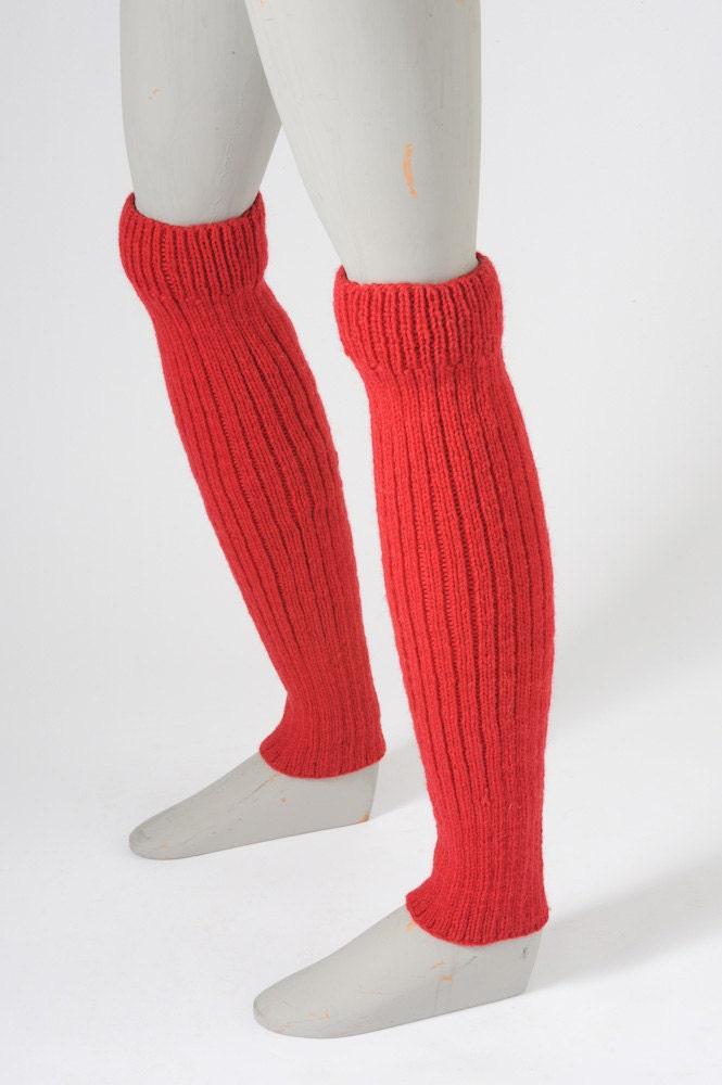 Vintage Red Wool Leg Warmers Ribbed Leggings By Missfarfalla