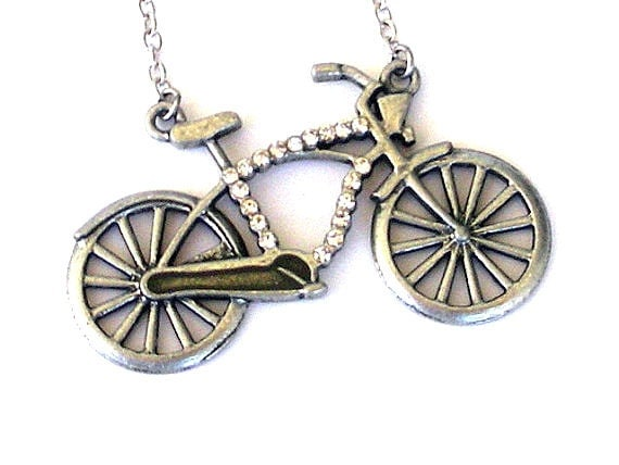 Silver bicycle necklace, rhinestone studded, very large statement necklace
