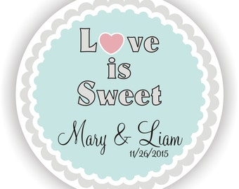 Love is Sweet Wedding - Personalized circle Stickers - 5 sheets - Monogram - Favor - Bridal Shower - Birthday - Thank You - Address Labels