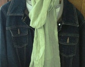 Upcycled Linen Scarf  - Hand Crafted in the USA - Celery Green