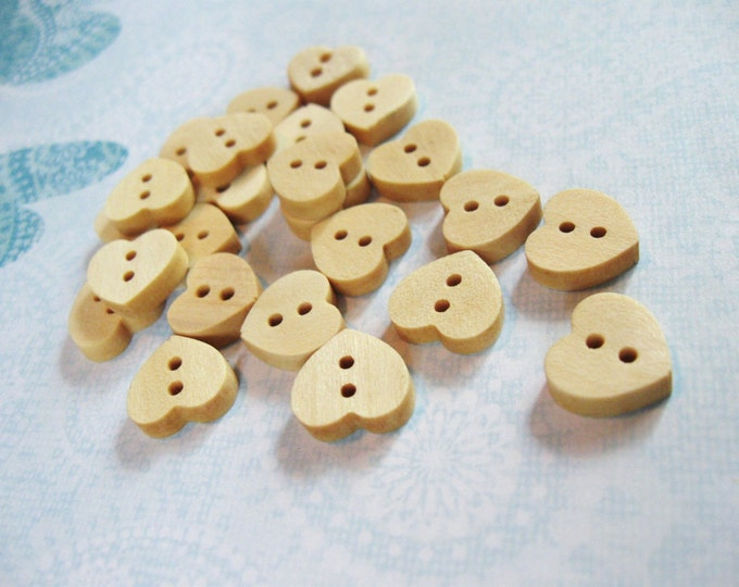 Featured listing image: Wooden Heart Shape Button 12mm Mini Unfinished wooden button #BB099