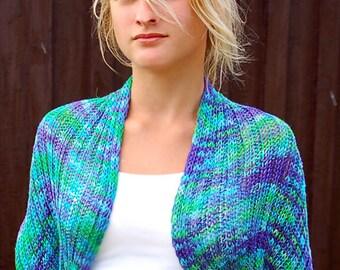 "Summer shrug / Infinity scarf ""River"", vegan, hand painted organic bamboo yarn"
