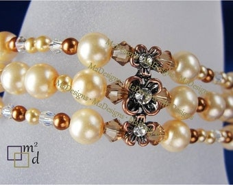 ON SALE - Pearl Bracelet, Copper and Gold Crystal Beaded Multi Strand Bracelet, Unique Gift Idea for Her, Handmade Jewelry by m2designs