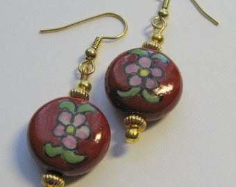 Ceramic Flower Earrings with Gold Accents  E1244
