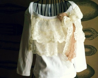 Sweet Girls Shirt Embellished with Vintage Laces
