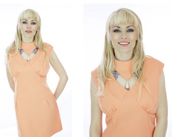60s Mod Dress Peach Cut Out Neckline With Pearl A-line 70s Mini Sixties Retro 1970s Indie Large L