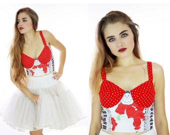 Harlequin Bustier Vintage 80s Clown Doll Fabric Circus Inspired Polka Dots Music Notes Sexy Retro Bra Top Size Small S Medium M