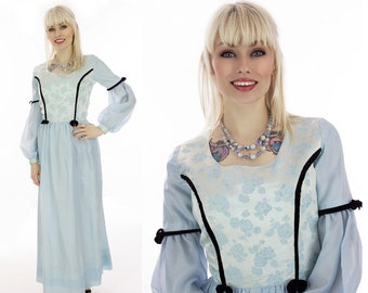 Vintage Renaissance Dress 70s Festival Ren Faire Floral Hippie Boho Prairie Empire Waist  Puff Sleeves Formal Cinderella Fairy Tale Small S