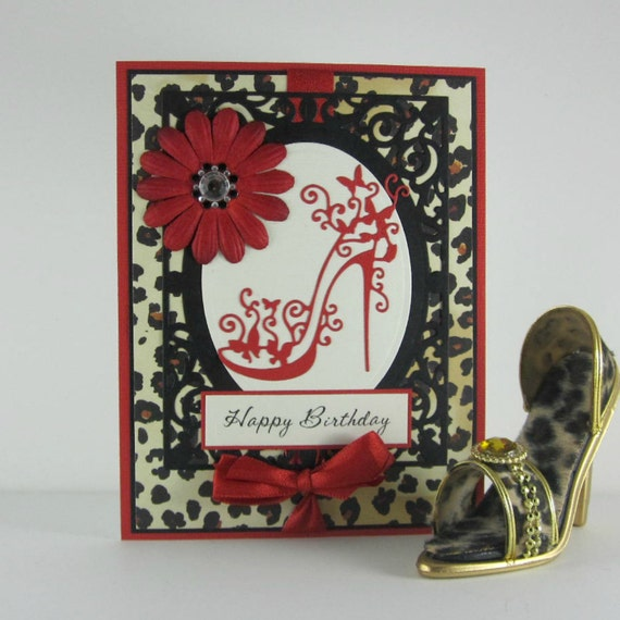 High heel birthday card 21st birthday handmade sexy card – Leopard Print Birthday Card