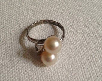 Faux Pearl Ring, Sterling Silver with Double Pearls, Ladies Classy Vintage Costume Jewelry on Sale