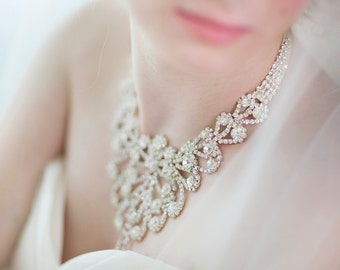 Bridal Necklace , Rhinestone Ribbon Necklace , Wedding Jewelry