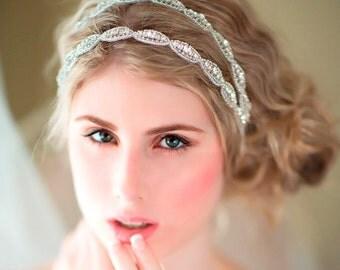 Wedding Hair Accessory, Beaded Headband, Bridal Headband, Double Crystal Ribbon Headband