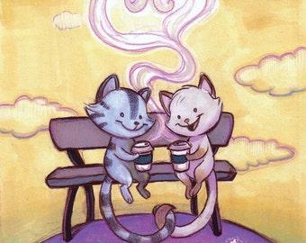 Kitties Love Lattes 8 x 11 print in 11 x 14 mat