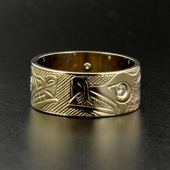 Native Wolf And Nordic Dragon 14k Gold Ring With Two Diamond
